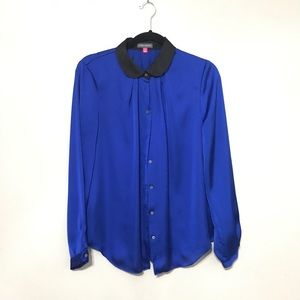 Vince cameo Top blouse size M solid blue long slee